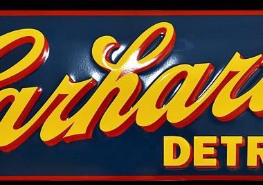 "Emailleschild Carharrt ""Detroit"" 700 x 250 mm, geprägt, bombiert"