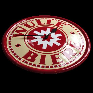 Emailleuhr der Brauerei Wulle, 40 cm Durchmesser, hier sieht man schön den Effekt der klassischen Schablonierung