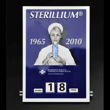 Geprägter Drehkalender Sterillium aus Blech, Format 300 mm x 430 mm