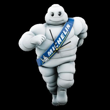 Aufwändige, geprägte und konturgestanzte Uhr Michelin, ca, 70 cm hoch
