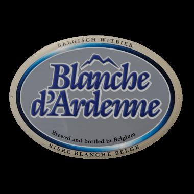 Aluminiumschild Blanche d`Ardenne, ca. 380 x 270 mm, matt, oval, ausgestanzt,  bombiert und geprägt