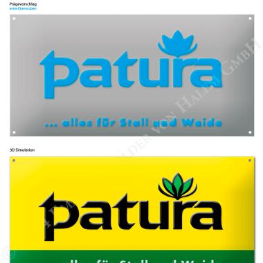 Patura Aluminiumschild, Vorschau der Prägungen