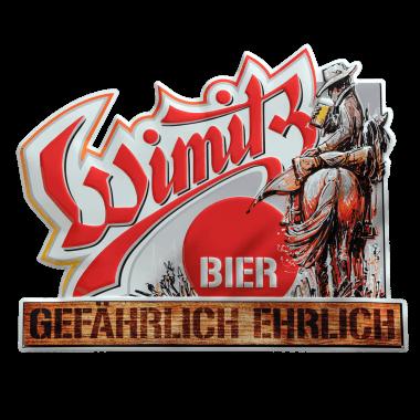 Wetterfestes Aluminiumschild Wimitz Bier, 50 cm x 40 cm, konturgestanzt und geprägt