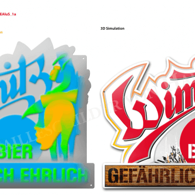 Wimitz Bier Aluschild, Vorschau der Prägungen