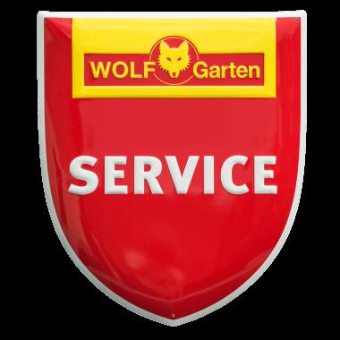 Wolf Garten Service Aluminiumschild, Konturgestanztes Aluminiumschild zur Kennzeiochnung der Servicepartner im Aussenbereich