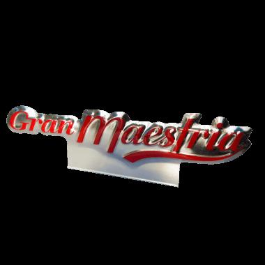Aufsteller Gran Maestria für Nespresso, konturgestanzt und mit metallischem Effekt