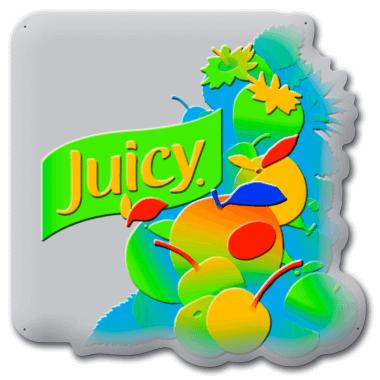 Blechschild Juicy, Darstellung der Prägung in fünf Ebenen