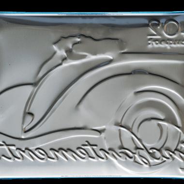 Blechschild Peugeot , Rückseite
