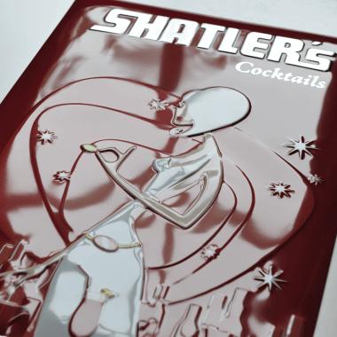 Shatlers Blechschild, Detail der Prägungen