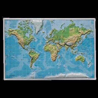 In sechs Ebenen geprägtes Blechschild Weltkarte