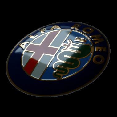 Aufwändiges Emailleschild Alfa Romeo, 50 cm Durchmesser, geprägt, mit Echtgold und verdeckten Aufhängungen