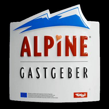 Emailleschild Alpine Gastgeber, konturgeschnitten und geprägt, 200 mm x 205 mm, verdeckte Aufhängung und Wandkreuz