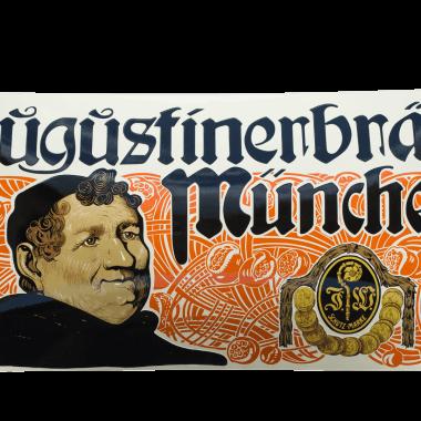 Emailleschild Augustiner Originalgetreue Reproduktion des alten Emailleschildes Augustiner Mönch, 100 cm x 50 cm, extrem aufwändiges, stark bombiertes Schild mit schabloniertem Schriftzug, plus sieben Farben keramischer Siebdruck