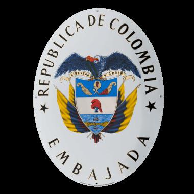 Botschaftsschild Kolumbien,, 600 x 678 mm, 8 keramische Farben plus Echtgold und Platin. Die Kennzeichnung des früheren  Herstellers war so gewünscht.