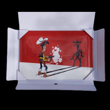 Emailleschild Lucky Luke, 200 mm x 200 mm, limitierte und einzeln nummerierte Edition