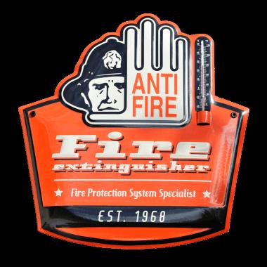 Gepraegtes und konturgestanztes Thermometer aus Emaille für Antifire Co. Ltd, Bangkok, Thailand