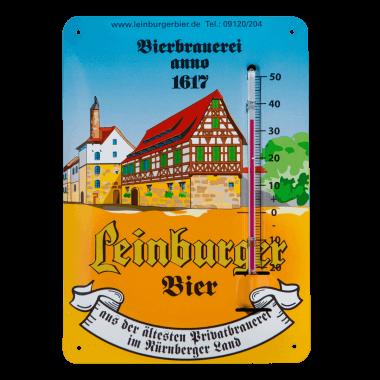 Leinburger Thermometer aus Blech im Postkartenformat A6