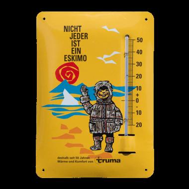Give-Away Thermometer Truma aus Blech im Postkartenformat A6