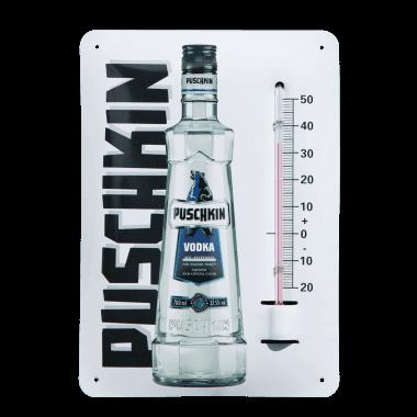 Give-Away Thermometer Puschkin aus Blech im Postkartenformat A6