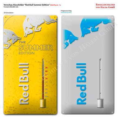 Werbethermometer Red Bull Vorschau der Prägungen Aluminiumthermometer