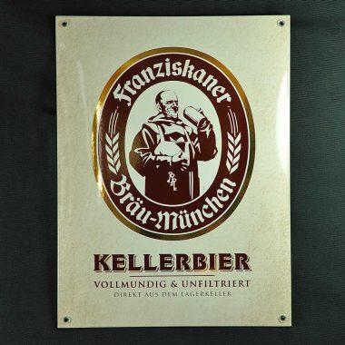 Klassisches Emailleschild Franziskaner mit Echtgold im Format 30 cm x 40 cm