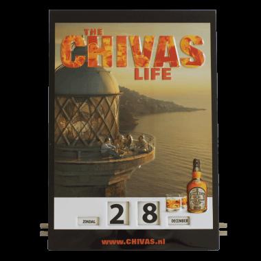 Geprägter Drehkalender Chivas aus Blech, Format 300 mm x 430 mm