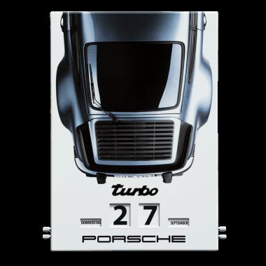 Drehkalender Porsche Turbo, aus Emaille, im Format 300 x 430, limitiert und nummeriert, Hier bei Porsche erhältlich: <a href=http://shop1.porsche.com/germany/books/calendar/wap0920020f/emaille-kalender-porsche-911-turbo-limited-edition.pdds>Porsche Driver's Selection</a>