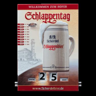 """Drehkalender Schlappentag aus Blech, 300 mm x 430 mm, mit Magnetpin """"Schlappen"""" zur Kennzeichnung der Termine der Schlappentage"""