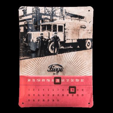 Nostalgischer ewiger Kalender Fiege aus Blech, 170 mm x 230 mm