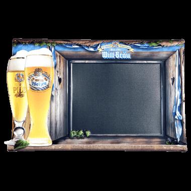 Brauerei Anschreibtafel Will Bräu, aufwändig geprägt und konturgestanzt, Beispiel für ein wirksames Werbemittel in der Gastronomie, ca. 600 mm x 400 mm