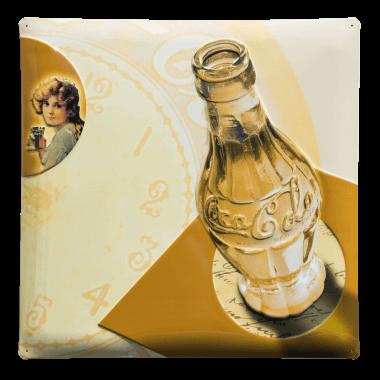 Serie von drei nostalgischen Blechschildern für Coca-Cola mit sehr detaillierten Prägungen, Schild 2