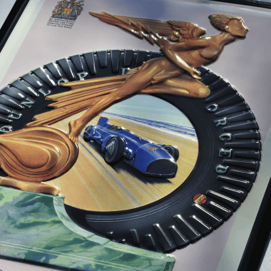 Geprägtes Blechschild Dunlop, Detail der Prägungen