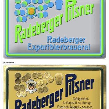 Radeberger Blechschild, Simulation der Prägungen