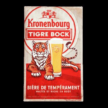 Großes, aufwändig  geprägtes Blechschild Tigre Bock, 50 cm x 80 cm