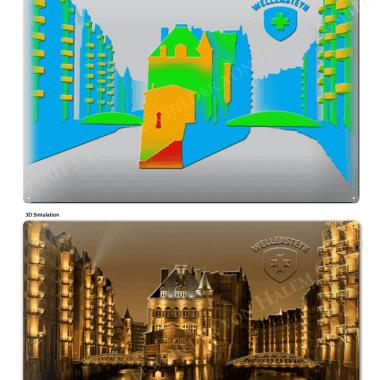 Simulation Blechschild Wellensteyn Speicherstadt