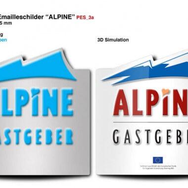 Emailleschild Alpine Gastgeber, Vorschau der Prägungen