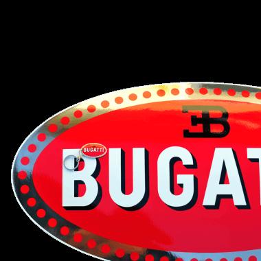 Emailleschild-Bugatti 750 mm x 380 mm, verdeckte Aufhaengungen, mit echtem Platin und Schluesselanhaenger 50 mm x 30_mm