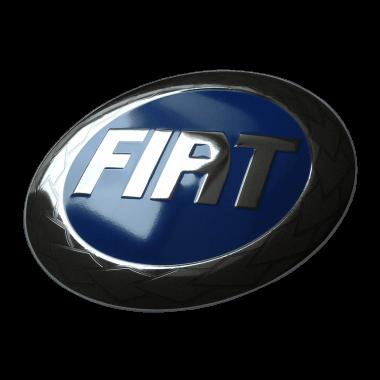 Aufwändiges Emailleschild Fiat, 50 cm Durchmesser, geprägt, mit Platin und verdeckten Aufhängungen