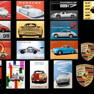 Bisher für die Porsche AG gefertigte Emailleschilder. Diese sind, wie alle abgebildeten Schilder, nicht bei uns erhaltlich