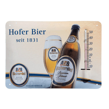Give-Away Thermometer Hofer Bier aus Blech im Postkartenformat A6 Thermometer im Postkartenformat A6