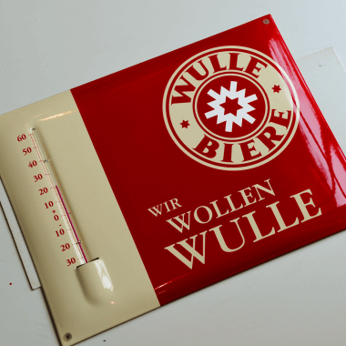 Werbemittel Emaillethermometer Wulle, Format 30 x 40 cm