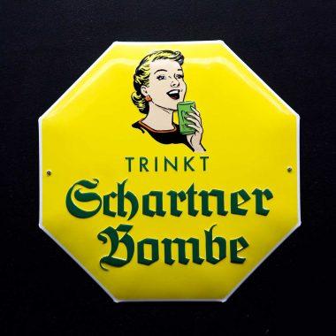 Werbeschild Schartner Bombe achteckig