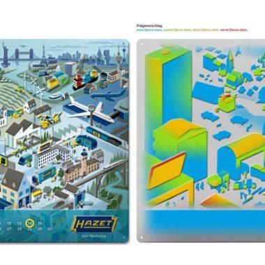 Blechkalender-Hazet-Simulation Simulation Werbekalender Hazet im Format 600 mm x 400 mm