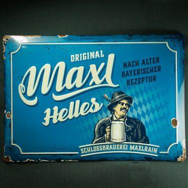 """Blechschild Maxl Helles Geprägtes Blechschild """"Maxl Helles"""" im used look"""