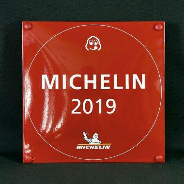 Emailleschild-Michelin Emailleschild Michelin als Auszeichnung in der Gastronomie im Format 250 mm x 250 mm.