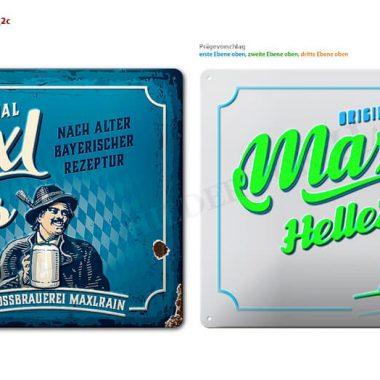 Simulation Blechschild Maxlrainer Visualisierung  Blechschild Maxlrainer zur Ansicht der mehrstufigen Prägungen
